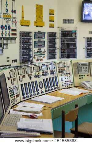 Old power plant control room