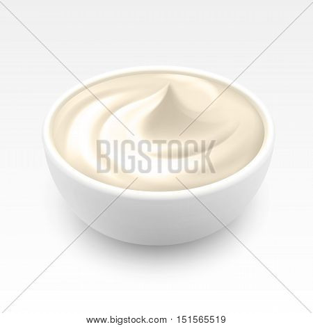 Bowl of Sour Cream Sauce Mayonnaise Ice Cream Close up Isolated on White Background