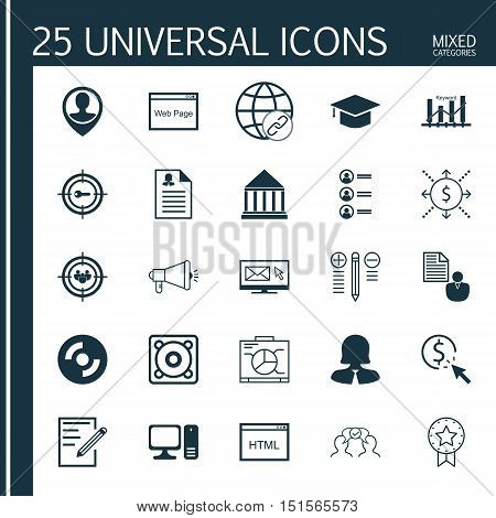 Set Of 25 Universal Icons On Computer, Present Badge, Job Applicants And More Topics. Vector Icon Se