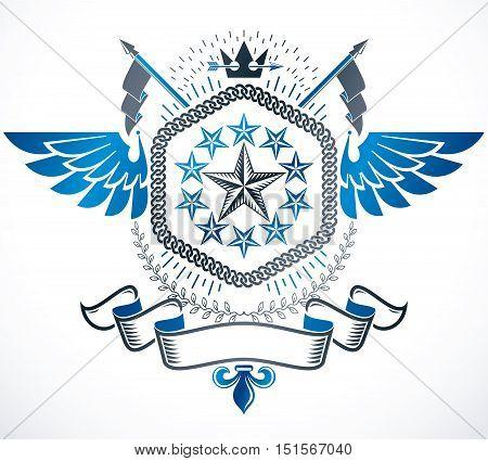 Vector emblem vintage heraldic design. Heraldry conceptual illustration