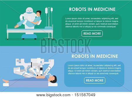 Robotic surgery banners set of robot. Vector illustration. Flat. Robots in medicine. Innovative medicine concept.