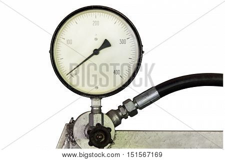 Manometer on white background taken closeup.Pressure gauge.