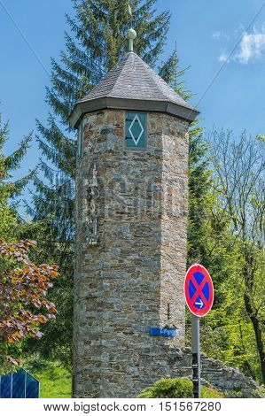 Tower of Castle Hetterscheidt in Heiligenhaus district Hetterscheidt on Abtskuecher pond.