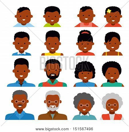 Avatar icons. African american ethnic people. People generations at different ages. Woman and man african american ethnic aging - baby child teenager young adult old. Flat illustration