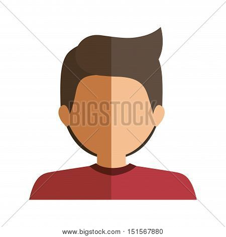 half body boy half brunette and caucasian vector illustration