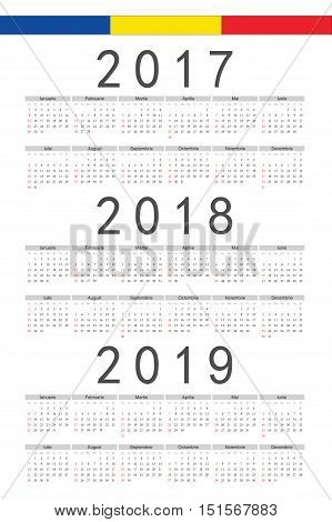 Set Of Rectangle Romanian 2017, 2018, 2019 Year Vector Calendars