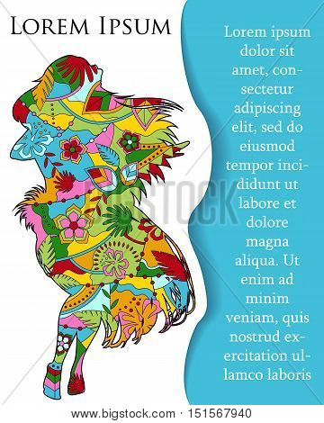 Vector background with hawaiian girl on paper and place for text