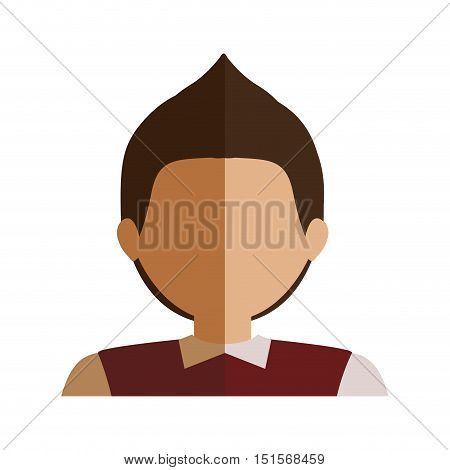 half body boy half brunette and caucasian blazer vector illustration