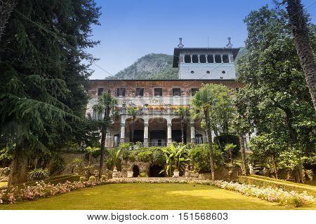 SARNICO, IITALY - JULY 2, 2016: Exterior and garden of Villa Faccanoni at Sarnico (Bergamo Lombardy Italy) along the Iseo lake