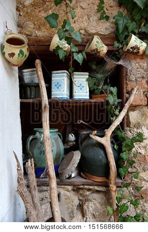Storage Cupboard With Vintage Jug, Box And Ceramic Cup