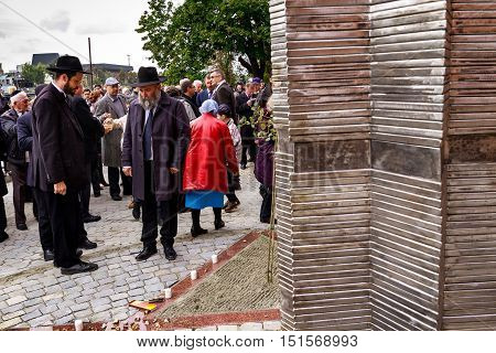 Uzhgorod Ukraine - October 9 2016: The Rabbis during the opening ceremony of the monument to local victims of the Holocaust on the square near the former synagogue.