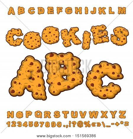 Cookies Font. Food Lettering. Edible Typography. Baking Abc. Crackers And Oatmeal Pastry. Biscuits W