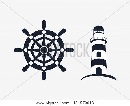 rudder with nautical sea life related icons image vector illustration design