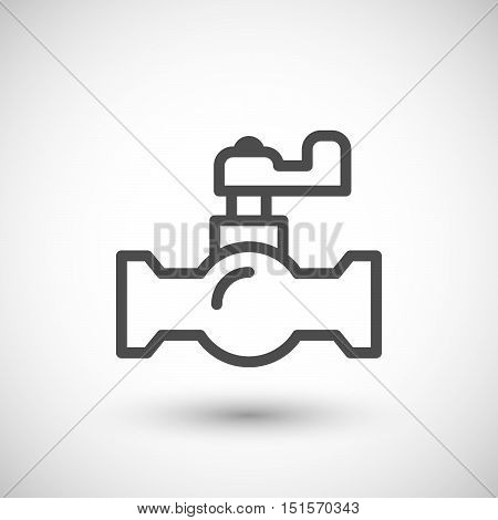 Ball valve line icon isolated on grey. Vector illustration