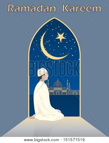 an illustration of a muslim devotee in prayer looking from an archway to a mosque with a crescent moon in greeting card format
