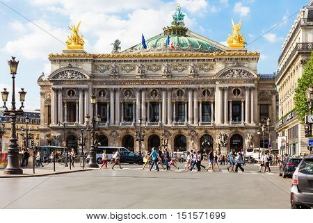Paris France - August 21 2015: Front view of the Opera National de Paris. Grand Opera (Opera Garnier) is famous neo-baroque building in Paris. Designed by Charles Garnier in 1875.