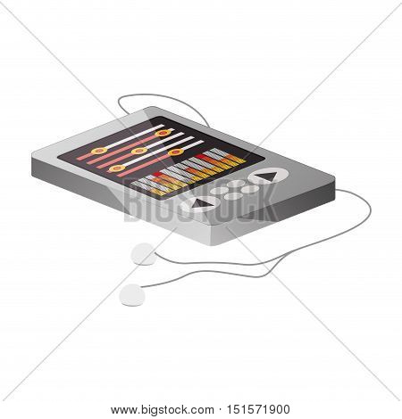 tech portable music device with headphones lying down vector illustration