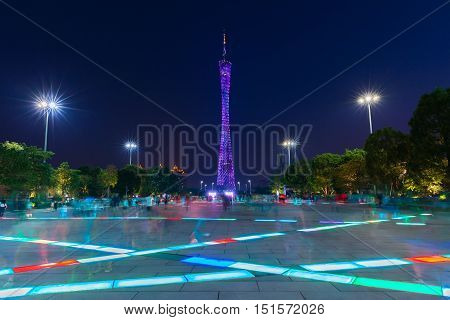 Dusk view of the Canton tower as seen from the Flower Square in Guangzhou China.