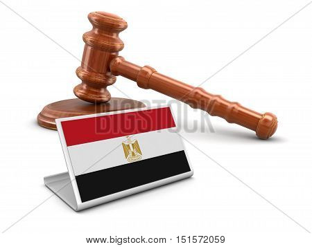 3D Illustration. 3d wooden mallet and Egyptian flag. Image with clipping path