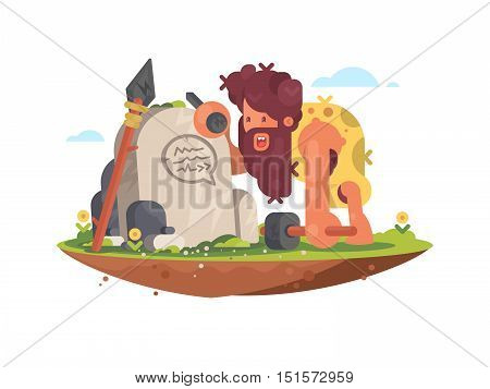 Primitive man writes a message on the stone vector illustration