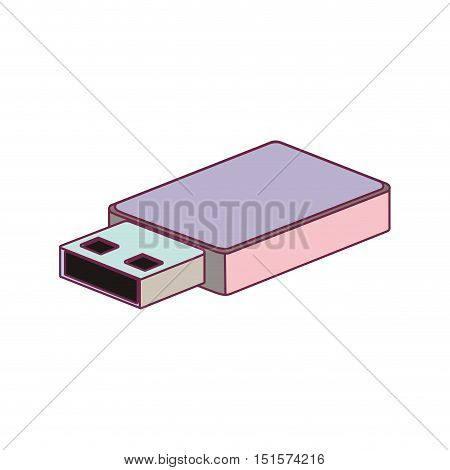 tech small pen drive device minimalist vector illustration