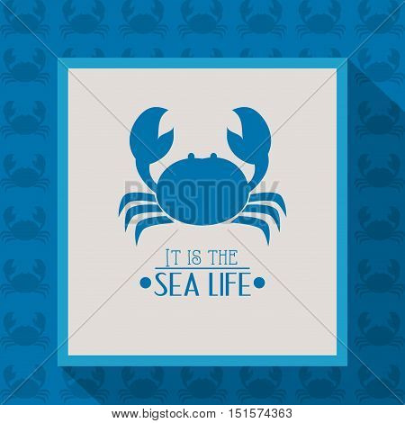 crab with nautical sea life related icons image vector illustration design