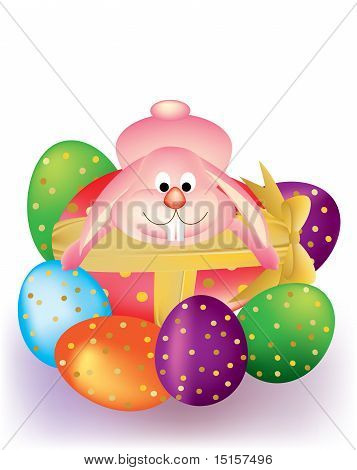 Colorful Easter eggs with ribbon and Bunny Rabbit