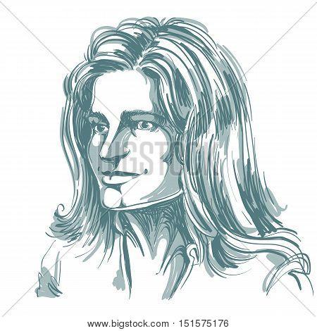 Hand-drawn portrait of white-skin romantic tender Caucasian woman face emotions theme illustration.