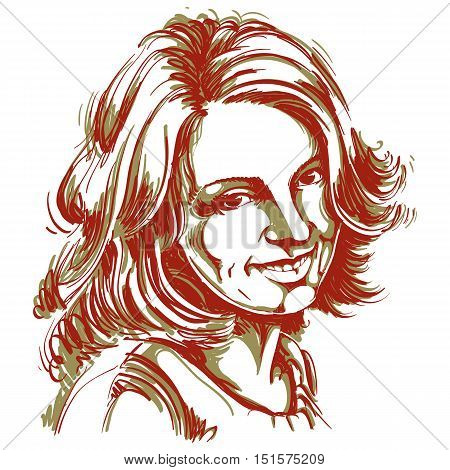Vector Drawing Of Smiling Sincere Woman With Stylish Haircut. Colorful Portrait Of Attractive Happy