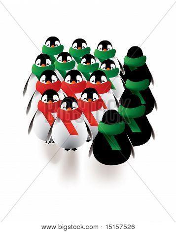 Penguins seasonal gatherings in winter