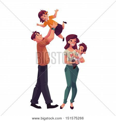 Father, mother, daughter and son, cartoon vector illustrations isolated on white background. Dad throwing his little daughter up and mom holding daughter in her hands, happy family concept