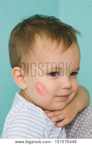Adorable Baby With Kiss Trace