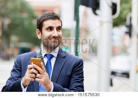 Portrait of handsome businessman outdoor
