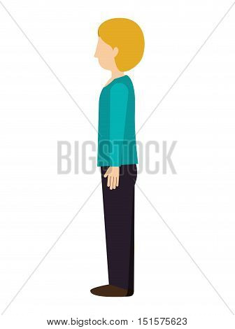 woman standing with left profile blond vector illustration