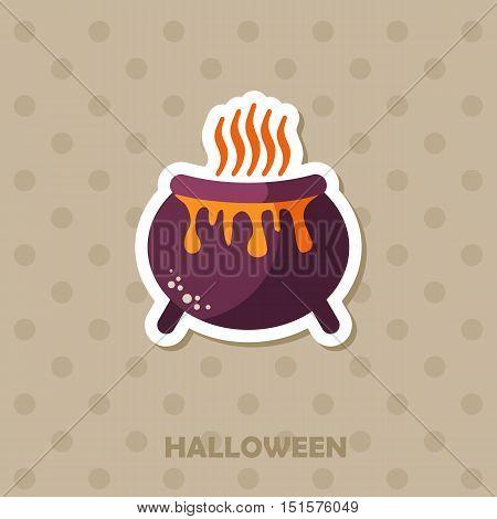 Witch cauldron vector icon. Halloween sticker, eps 10