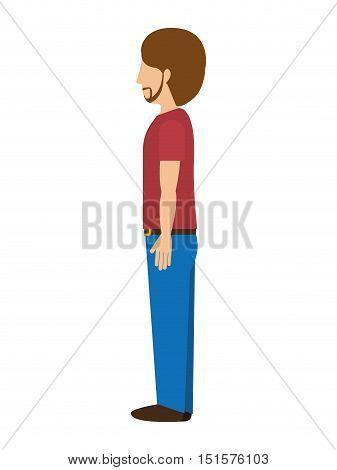 man standing with left profile t-shirt beard vector illustration