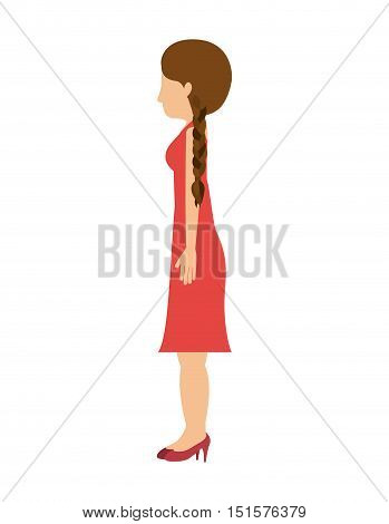 woman standing dress left profiles hair tail vector illustration