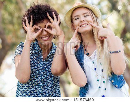 Two women friends in park