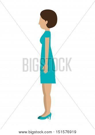 woman standing dress left profiles short hair vector illustration