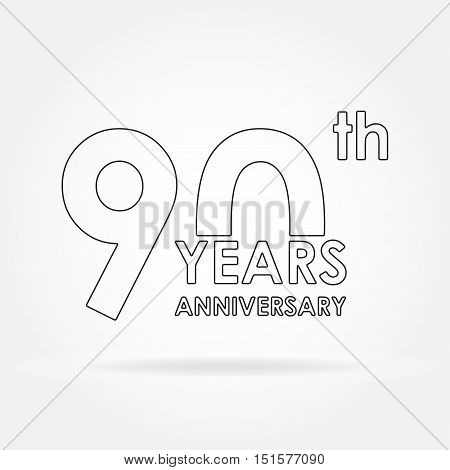 90 years anniversary sign or emblem. Template for celebration and congratulation design. Outline vector illustration of 90th anniversary label.