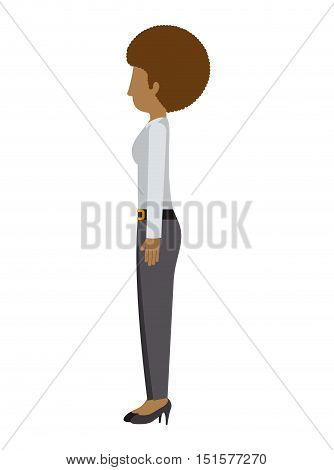 woman standing pants left profiles afro hair vector illustration