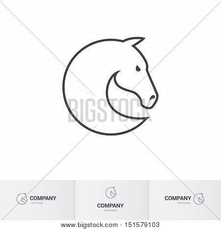 Simple Horse Head for Mascot Logo Template