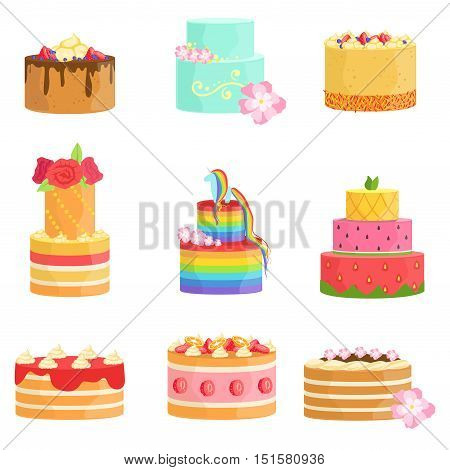 Special Occasion Decorated Cakes Assortment Bright Color Simple Vector Icons With Designer Cakes Isolated On White Background