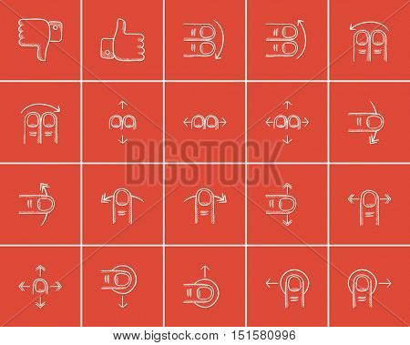 Technology sketch icon set for web, mobile and infographics. Hand drawn technology icon set. Technology vector icon set. Technology icon set isolated on red background.