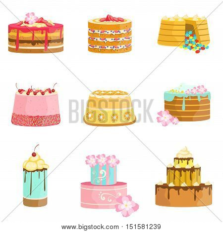 Sweet Party Layered Cakes Assortment. Bright Color Simple Vector Icons With Designer Cakes Isolated On White Background