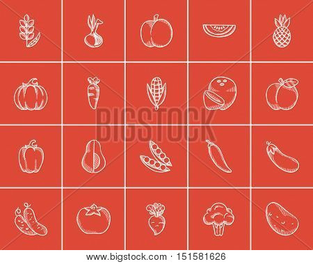 Healthy food sketch icon set for web, mobile and infographics. Hand drawn healthy food icon set. Healthy food vector icon set. Healthy food icon set isolated on red background.