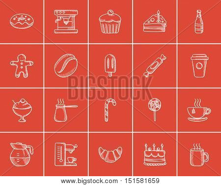 Junk food sketch icon set for web, mobile and infographics. Hand drawn junk food icon set. Junk food vector icon set. Junk food icon set isolated on red background.