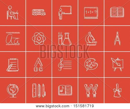 Education sketch icon set for web, mobile and infographics. Hand drawn education icon set. Education vector icon set. Education icon set isolated on red background.