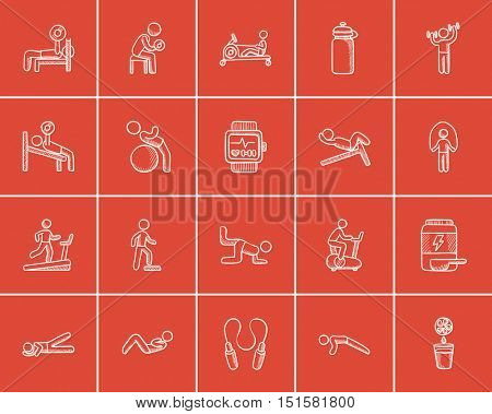 Lifestyle sketch icon set for web, mobile and infographics. Hand drawn lifestyle icon set. Lifestyle vector icon set. Lifestyle icon set isolated on red background.