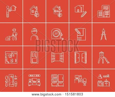 Construction sketch icon set for web, mobile and infographics. Hand drawn construction icon set. Construction vector icon set. Construction icon set isolated on red background.